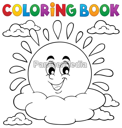 coloring book cheerful sun theme 1
