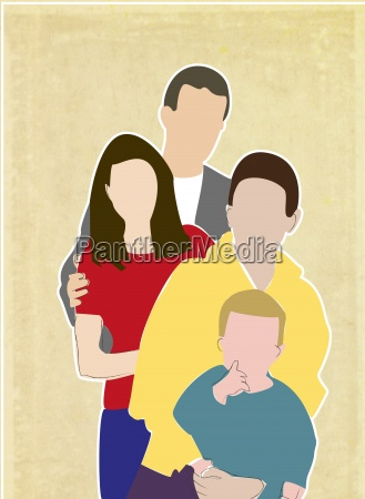 family of four illustration