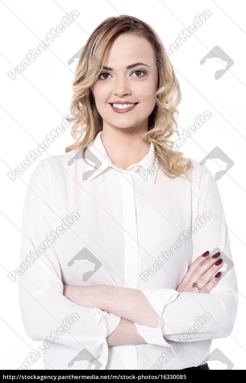 lächelnde, frau, isoliert, auf, weiß - 16330085