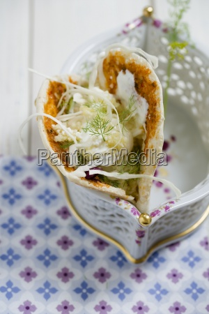 pita bread filled with millet salad