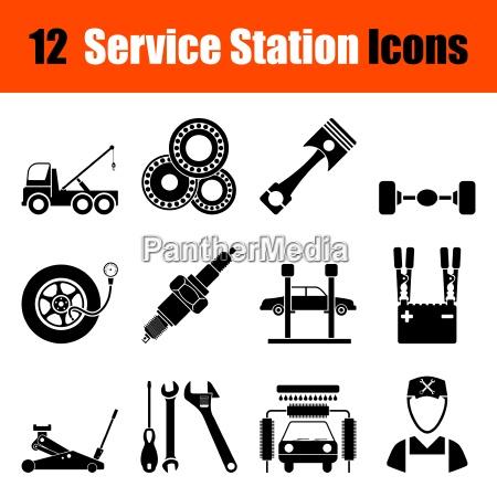 set of service station ikonen
