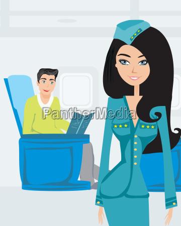 passagier im flugzeug liest ein buch