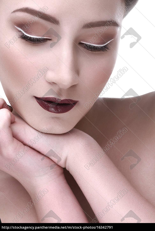 kontrast, make-up, schöne, frau, hand, schulter - 16342791