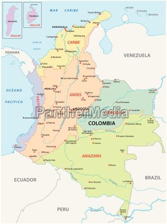karte der natuerlichen regionen kolumbien