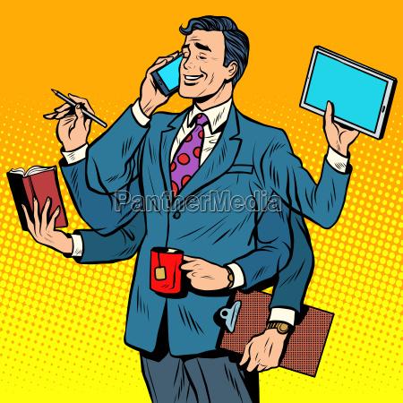 business successful businessman multitasking