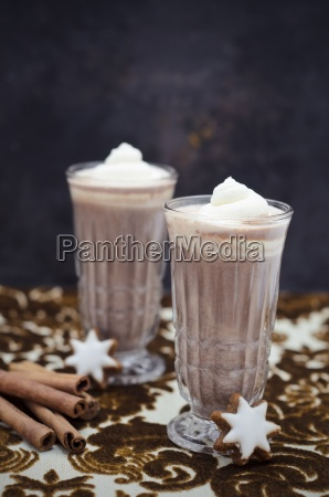 two glasses of hot chocolate with
