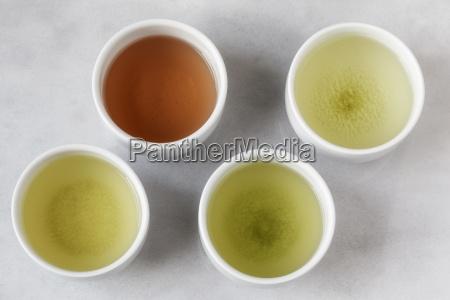four tea bowls of sencha gyukuro