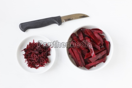 kitchen knife and grated and sliced
