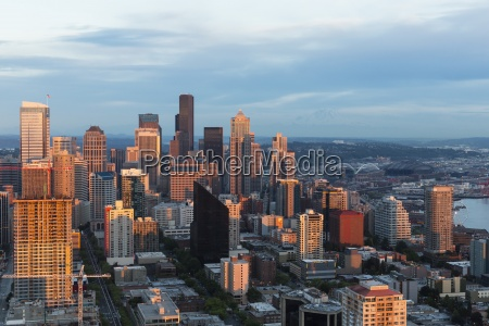usa washington state seattle cityscape in