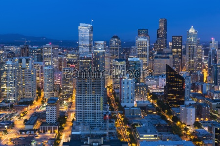 usa washington state seattle cityscape blue