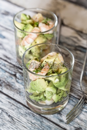 two glasses of avocado shrimp salad