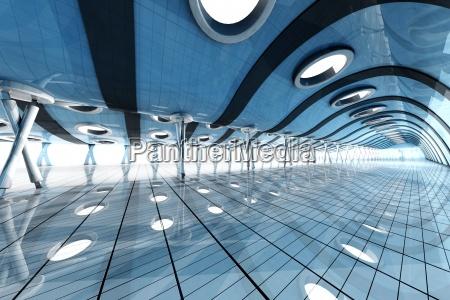 futuristic empty blue room with skylights