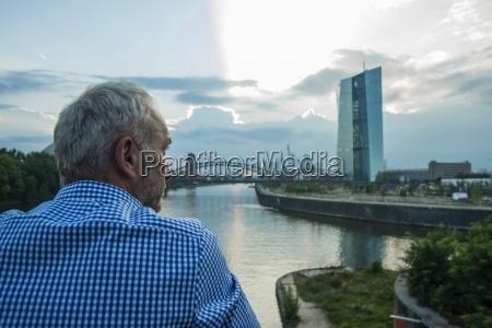 germany frankfurt businessman at river main