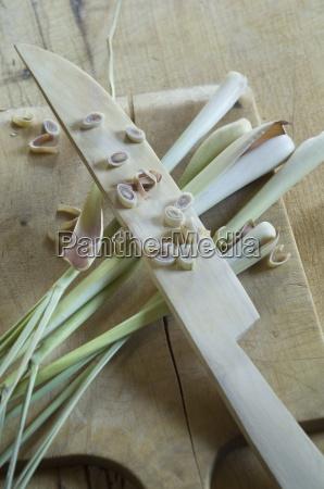 lemongrass cymbopogon citratus on wooden knife