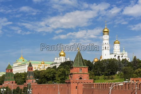 russia moscow kremlin wall with towers