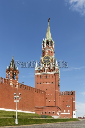 russia moscow red square with spasskaya