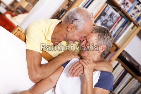 portrait of happy senior couple laughing