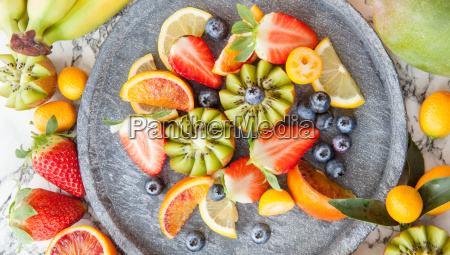 colorful fruit salad with fresh fruits