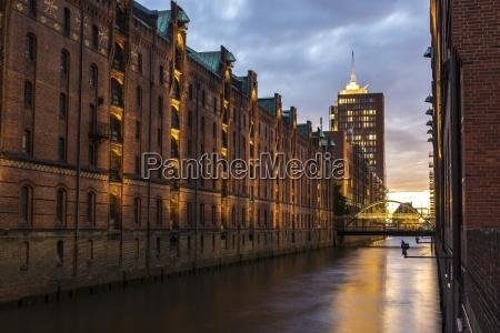 germany hamburg old warehouse district sunset