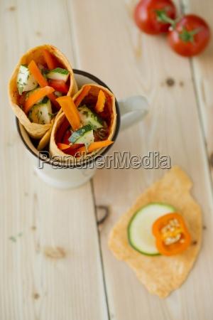 mug of tomato wraps filled with