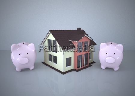 illustration house and piggy banks