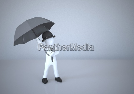 white manikin holding umbrella
