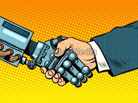 handshake von roboter und mann entwicklung