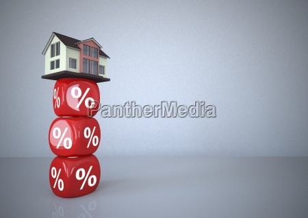 residential house standing on percentage sign