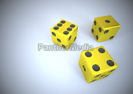 three golden dice 3d illustration