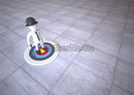 manikin standing on target 3d illustration