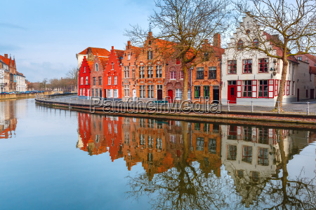 city view of bruges canal with