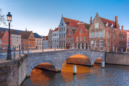 bruges canal and bridge in the
