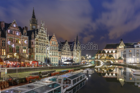 quay graslei in ghent town at