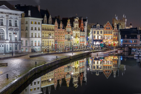 quay korenlei with reflections in ghent