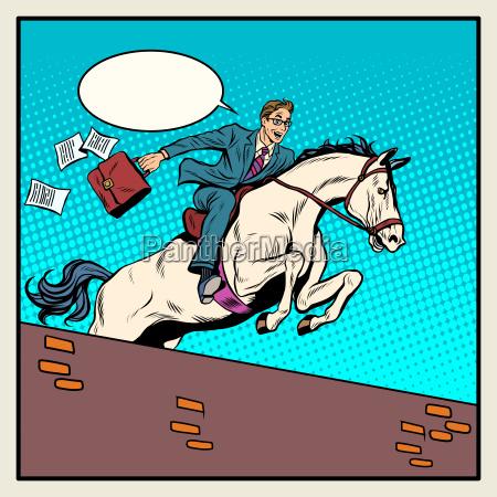 businessman horseman on horse jumps over