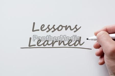 lektionen die auf whiteboard geschrieben gelernt