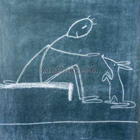 chalkboard drawing with a man who