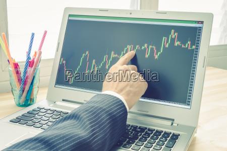 businessman point und analyse forex graph