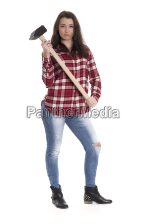 young woman in checkered shirt carrying
