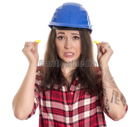 craftsmen with safety helmet ear plugs