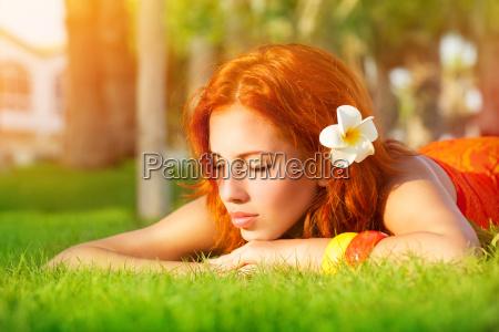 calm girl enjoying day spa