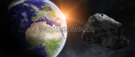 asteroiden drohen ueber planeten erde