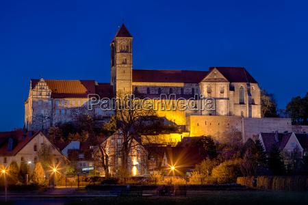 night view of quedlinburg castle collegiate