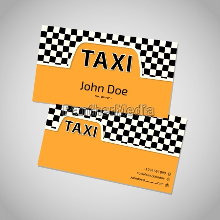 taxi business card with cab symbol