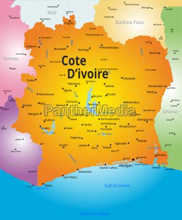 map of cote d ivoire