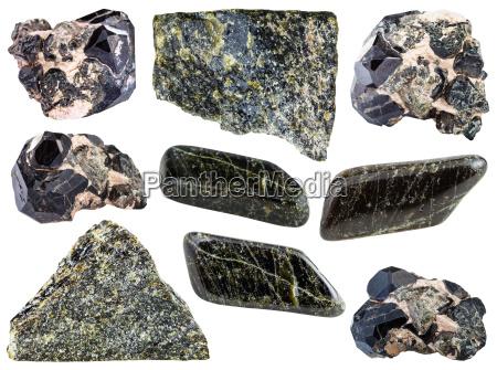 satz von diopside gestein polierte edelsteine