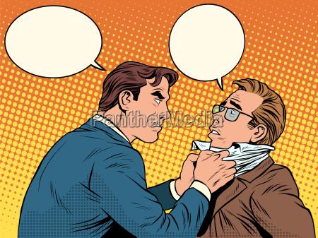 conflict men fight quarrel businessman