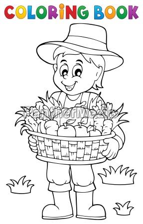 libro da colorare contadino con raccolto