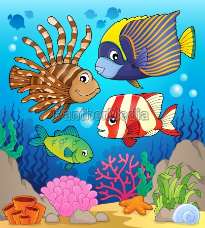coral reef fish theme image 1