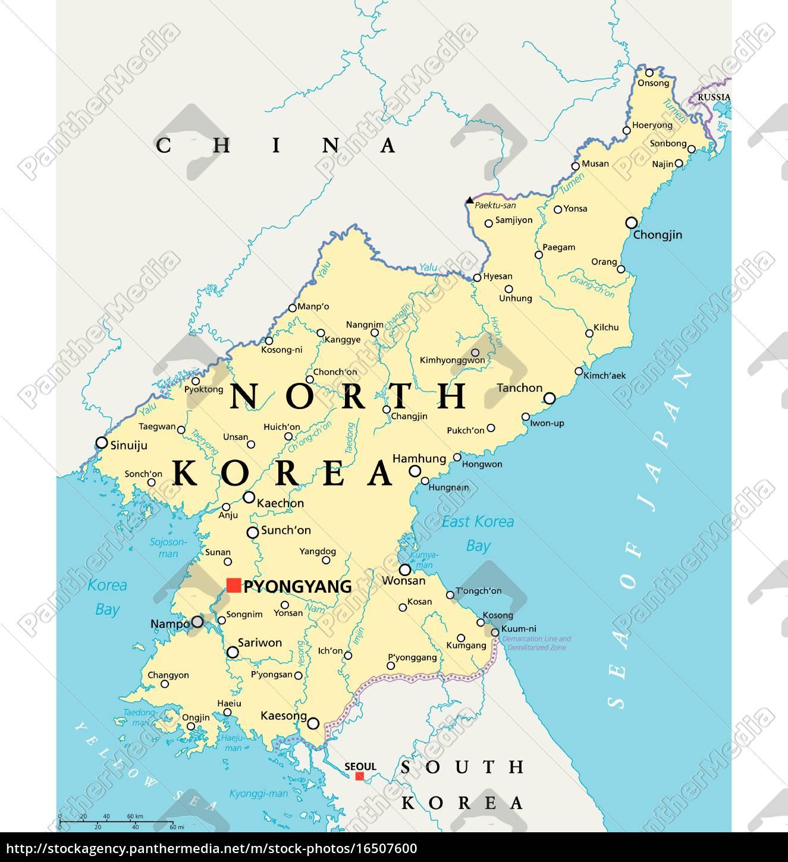Politische Landkarte Nordkoreas Lizenzfreies Foto 16507600
